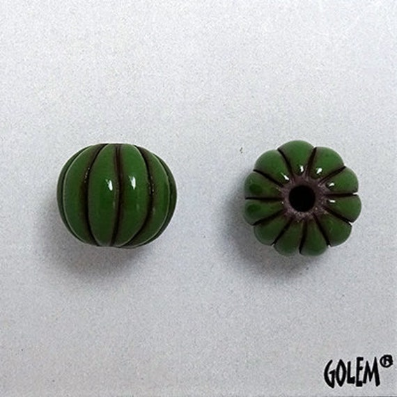 Green Glazed Melon Beads On Black Clay, Hand Carved Melon Beads, Large Hole Beads For Kumihimo, Spacer Beads, Golem Beads