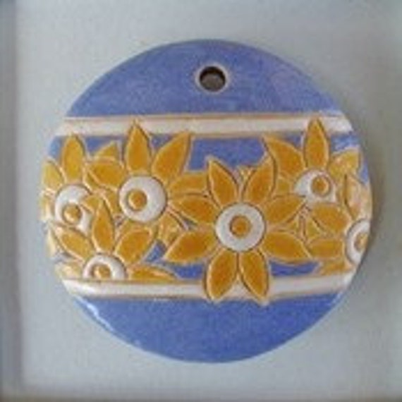 Bright Yellow Flowers On Light Blue, Round Domed Ceramic Pendant Bead, Golem Design Studio Beads, 1.5 Inches Round