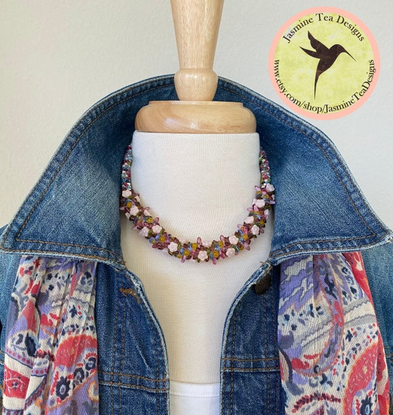 Spring Flowers Beaded Kumihimo Necklace, 17.5 Inch Kumihimo Necklace with Magnetic Clasp, Czech Beads and Japanese Seed Beads