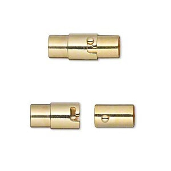 5mm Locking Magnetic End Cap Clasp, Magnetic Clasps, Non-Tarnish Magnetic Clasps, 15x5mm Over All, Great For Bracelets