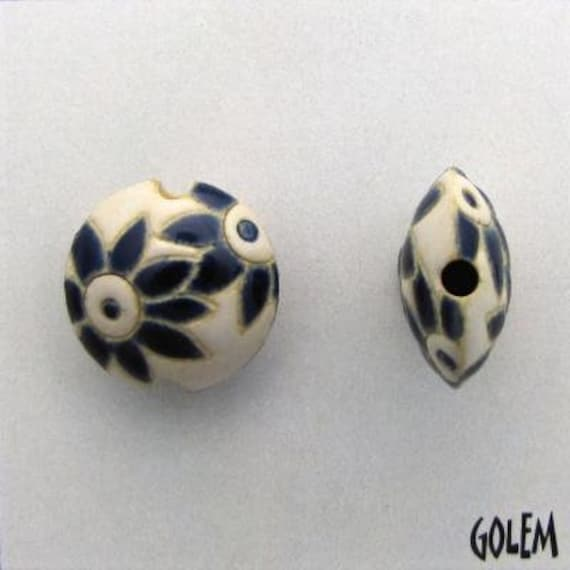 Blue Petals Flowers on a White Background, Ceramic Lentil Bead, Small Hand Carved Lentil Bead, Golem Design Studio Beads