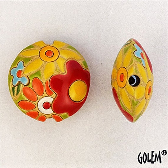 Red And Yellow Flowers Lentil Bead, Flower Power, Round Lentil Terracotta Pendant Bead, Golem Design Studio Beads, Large Hole Beads