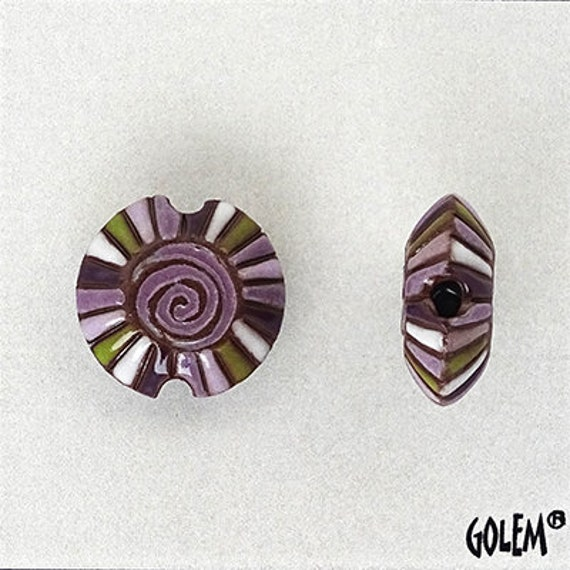 Rainbow Spiral With Purple Center Lentil Bead, Hand Carved And Hand Glazed Beads, Golem Beads, Large Hole Beads For Kumihimo