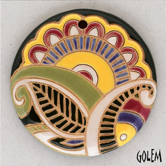 Paisley Focal Bead, Great Sun And Leaf Design, Large Round Pendant Bead, Golem Design Studio