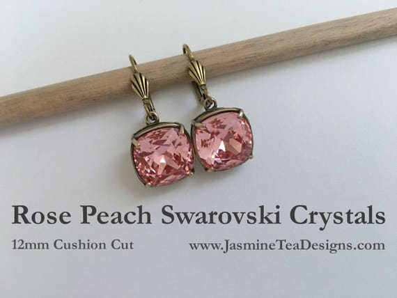 Rose Peach Swarovski Earrings, 12mm Cushion Cut Crystals, Set In Vintage Patina Antique Gold Tone, Shell Motif Lever Back Ear Wires