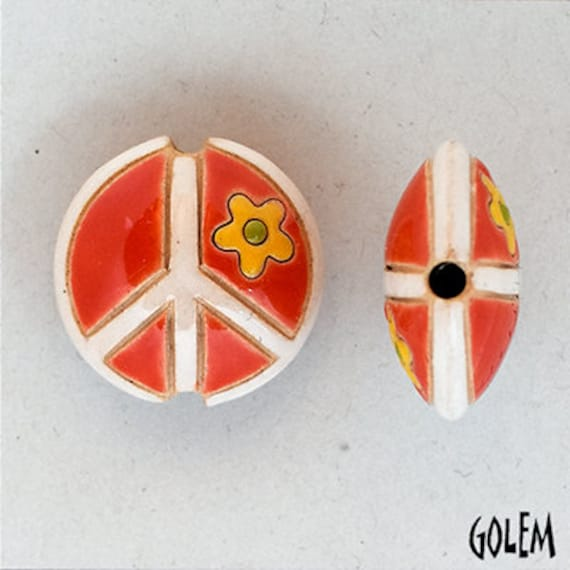 Orange With Yellow Flower and White Peace Sign Bead, Artisan Focal Bead Grouping, Golem Design Studio Beads, Summer Of Love