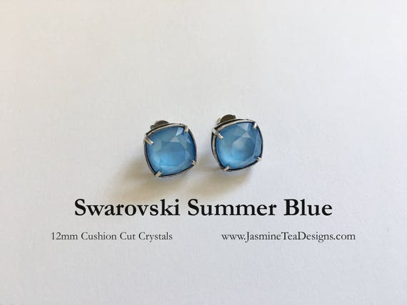 Swarovski Summer Blue Earrings, Antique Silver Bezel Setting, Post Earrings, 12mm Cushion Cut Fancy Stone Swarovski Crystals