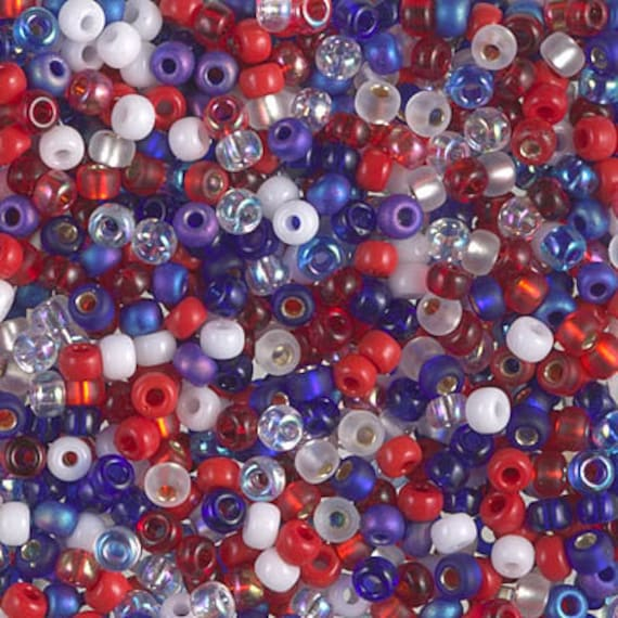Miyuki Size 8 Fourth of July Mix, Color 26, Size 8 Seed Bead Mix in Red, White and Blue, Miyuki Seed Bead Mix, 2.5 Inch Tubes, 10g