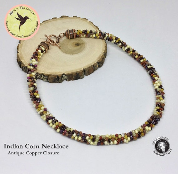 Indian Corn Beaded Kumihimo Necklace, Antique Copper With Jasper Colored Seed Beads, 20 Inch Necklace