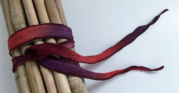 Cape Coral Purple, Hand-Dyed Silk Ribbon, Handmade Silk Ribbons, Fiber Artist Silk Ribbons