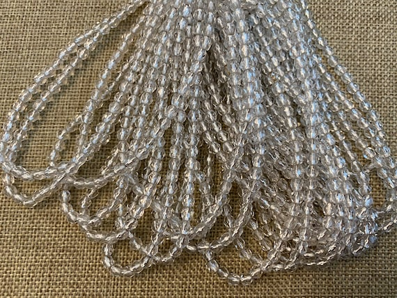 Crystal Transparent With Silver Lining, Fire Polish Beads, Round Faceted 4mm Fire Polish Beads, 50 Beads Per Strand