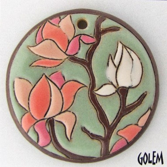 Magnolia Flowers Large Round Pendant Bead With Larger Hole For Tex 210