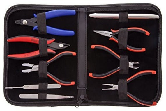 Deluxe Beader's Tool Set With Ergonomic Pliers, Nine Beading Tools With Carrying Case