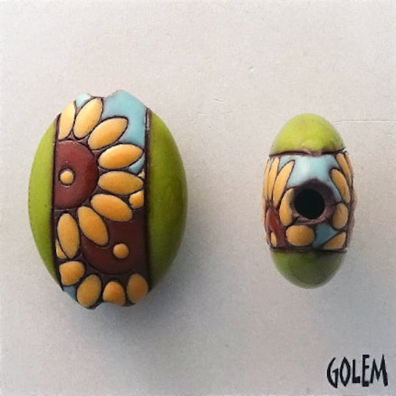 Sunflowers, Stoneware Sunflower Beads,  Almond Shaped Bead, Hand Glazed, Hand Carved, Pendant Beads, Golem Design Studio