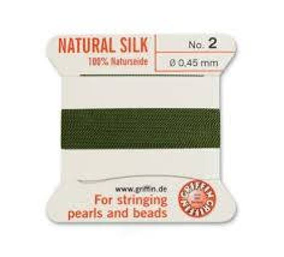Olive Griffin No. 2 Natural Silk, Silk For Stringing Pearls And Beads, Silk Beading Cord with Attached Needle, Size 2