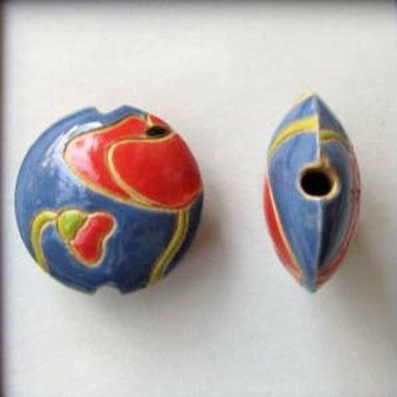 Red Poppies On Dark Blue, Golem Design Studio Lentil Beads, Hand Carved Beads, Large Hole Beads For Kumihimo