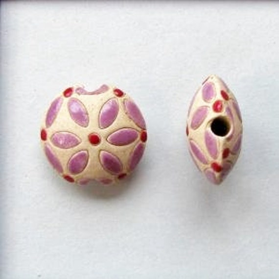 Purple Petals With A Red Center Lentil Bead, Petite Lentil Pendant Bead, Hand Crafted Pendant Bead