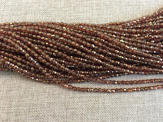 Luster Rose Gold Topaz Fire Polish Beads, Round Faceted 4mm Fire Polish Beads, 50 Beads Per Strand