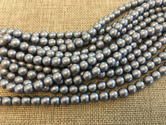Silver 6mm Glass Pearls, 25 Pearls Per Strand, Matte Finish