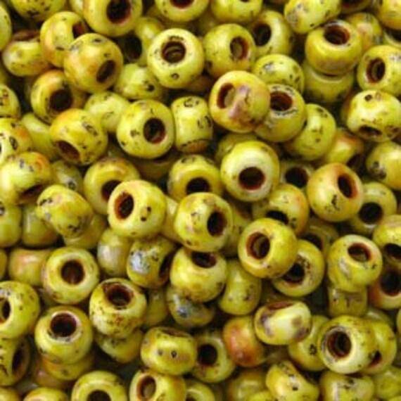 Miyuki Size 8 Canary Yellow Matte Picasso, Size 8 Round, Miyuki Seed Beads, 5 Inch Tubes, 22 Grams