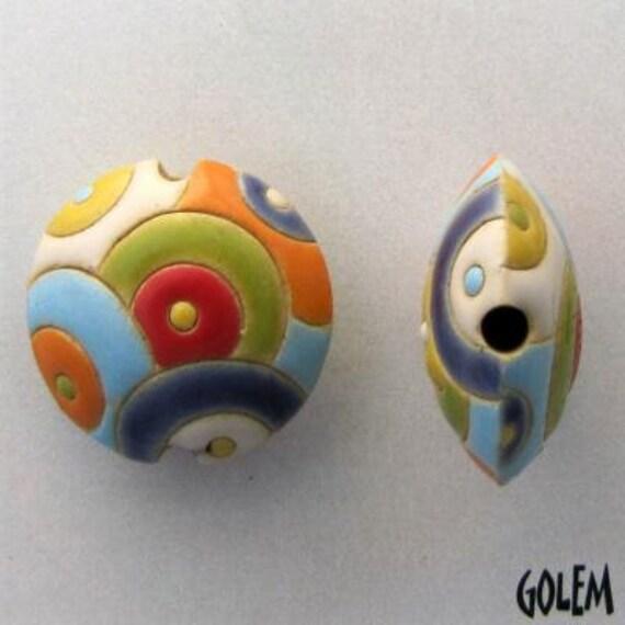 Rainbow Paisley Lentil Bead, Round Lentil Ceramic Pendant Bead, Golem Design Studio Beads