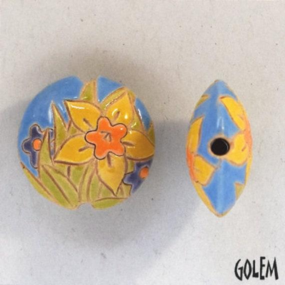Daffodil Lentil Beads, Round Pendant, Artisan Focal Bead, Pendant Bead, Golem Studio Designs, Medium Lentil