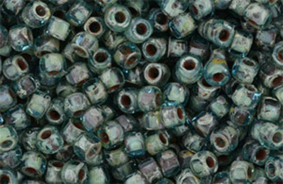 Matubo 3-Cut Seed Beads, Aquamarine Picasso 60020, Size 6 Seed Beads, 3 Inch Tubes, Trica Beads, 7 to 8 Grams
