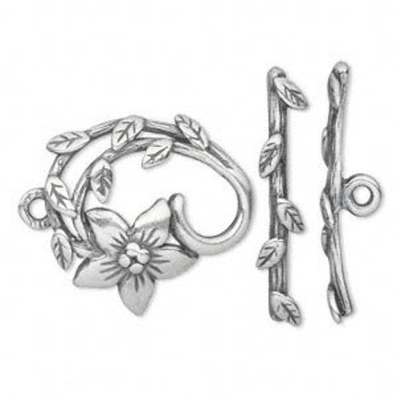 Leaf And Floral Toggle Set, JBB Findings, Antique Silver Toggle Leaf And End Cap Set, Flower Loop 23mm, Leaf Toggle Bar 31mm