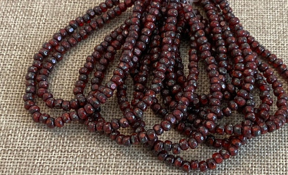 Ladybug Red with Picasso Finish 3-Cut Matubo Fire Polish Beads, 3x4mm, 50 Beads Per Strand, 1mm Center Hole, Trica Beads