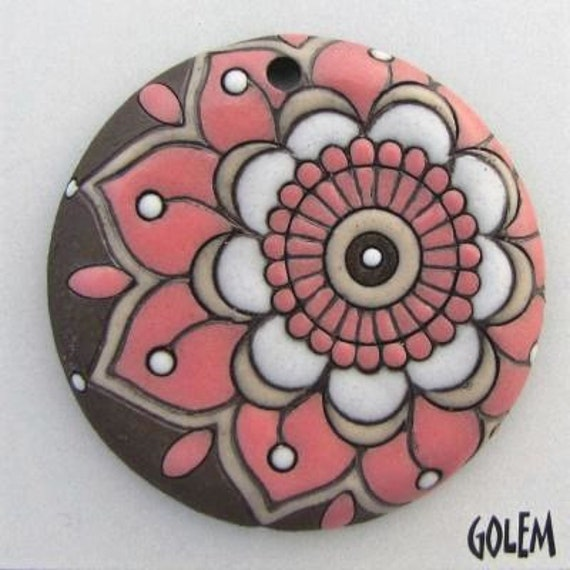 Pink Paisley Flower Pendant, Black Clay With Taupe And White Glaze, Hand Carved Ceramic Pendant Bead, Golem Design Studio Beads