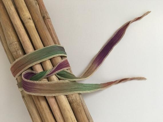 Tucson Desert, Hand-Dyed Silk Ribbon, Handmade Silk Ribbons, Fiber Artist Silk Ribbons