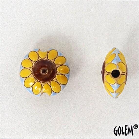 Sunflower Lentil Beads, Pendant Beads, Golem Design Studio