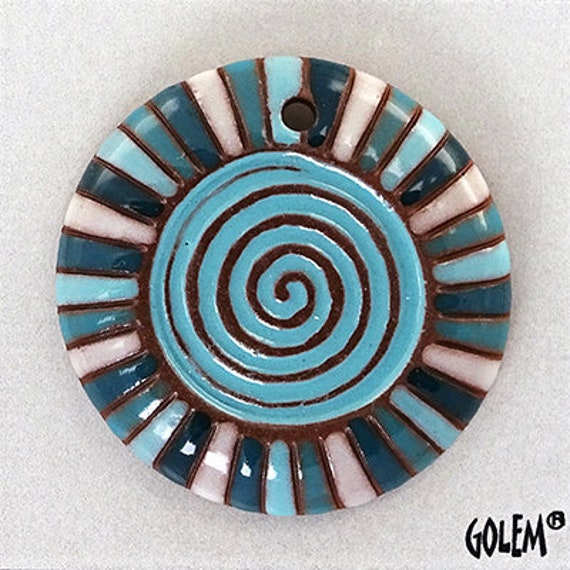Aqua Rainbow Spiral Pendant, Contemporary Pattern Pendant Bead,  Artisan Focal Beads, Handcrafted Hand-carved Ceramic Beads