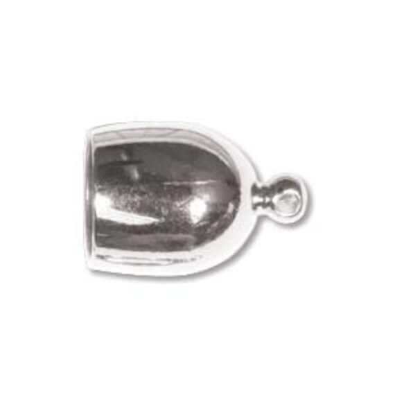 Silver Plated Bullet End Caps, 8mm End Caps,  8mm End Cap Set, 2 Pieces Silver Plated Cord Ends for Kumihimo Braids, End Caps