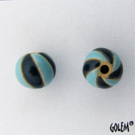 Turquoise And Dark Blue Carved Spirals, Hand Carved Beads, Large Hole Beads For Kumihimo, Spacer Beads, Golem Beads