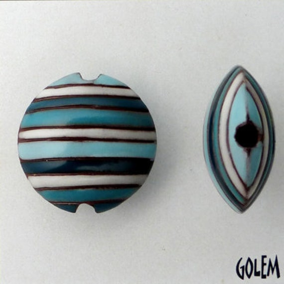 Turquoise, Teal and White Funky Stripes Lentil Beads, Stripe Lentil Bead, Round Lentil Ceramic Pendant Bead, Golem Design Studio Beads