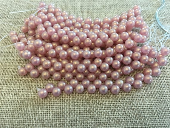 Sueded Gold Milky Pink 6mm Top Drilled Round Beads, 25 Beads Per Strand