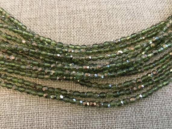 Copper Olivine Fire Polish Beads, Round Faceted 4mm Fire Polish Beads, 50 Beads Per Strand