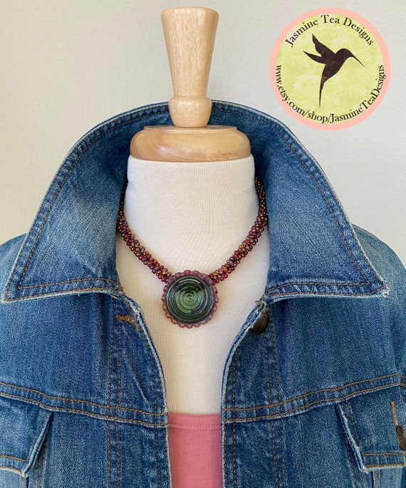 Berry Happy Beaded Kumihimo Necklace, Artisan Lampwork Focal Bead by Unicorne Beads, Petite Necklace with Artisan Focal Bead