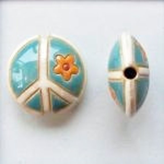Teal with Orange and White Ceramic Peace Sign Bead, Artisan Focal Bead Grouping, Golem Design Studio Beads
