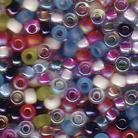 Miyuki Spring Flowers Blend, Size 8 Seed Bead Mix in Blue, Pink and Green Tones, Miyuki Seed Bead Mix, 5 Inch Tubes, 22 Grams