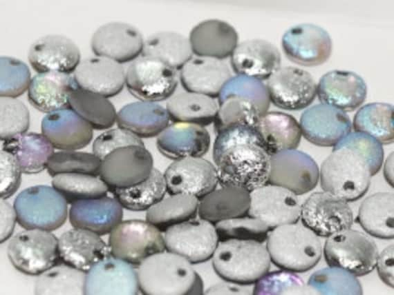 6mm Etched Crystal Silver Rainbow Lentil Beads, Single Hole Top Drilled Lentil Beads, 50 Pieces