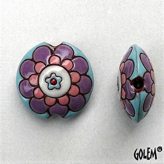 Purple, Pink And Turquoise Flower Mandala Beads, Flower Mandala Pendant Bead, Large Hole Beads For Kumihimo, Medium Lentil