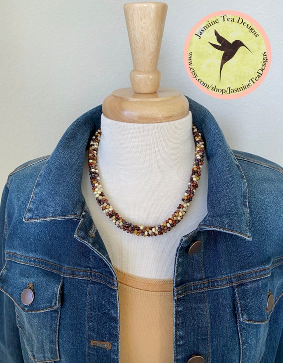 Sample Sale Necklace, Faux Jasper Necklace, Czech Glass Jasper Mix Seed Beads, Antique Copper Clasp and Caps, Measures 20 Inches