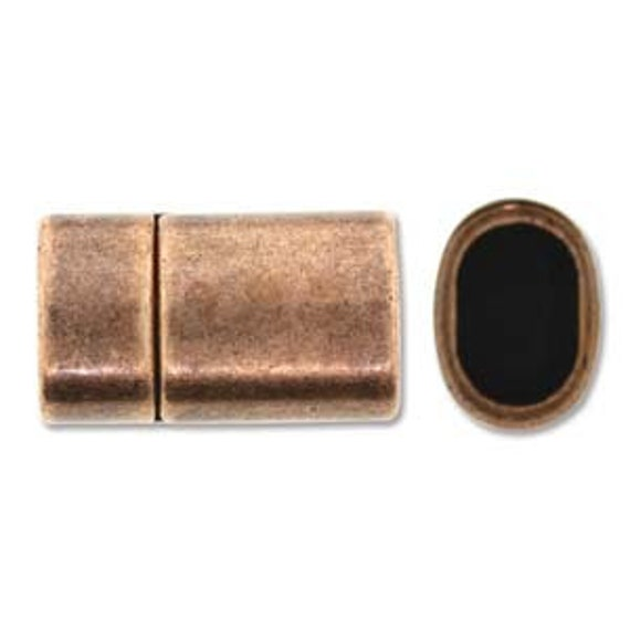 Copper Magnetic Clasp, Straight Shaped 24x13mm Copper Magnetic Clasp, 10x7mm Inner Hole, Kumihimo And Licorice Leather Magnetic Clasp