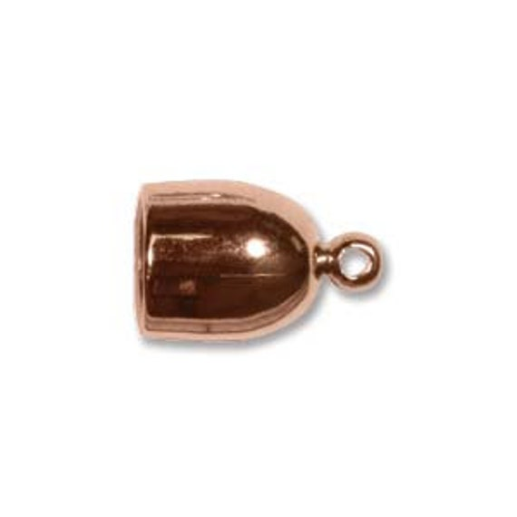 Copper Plated Bullet End Caps, 6mm End Caps,  6mm End Cap Set, 2 Pieces Copper Plated Cord Ends for Kumihimo Braids, End Caps