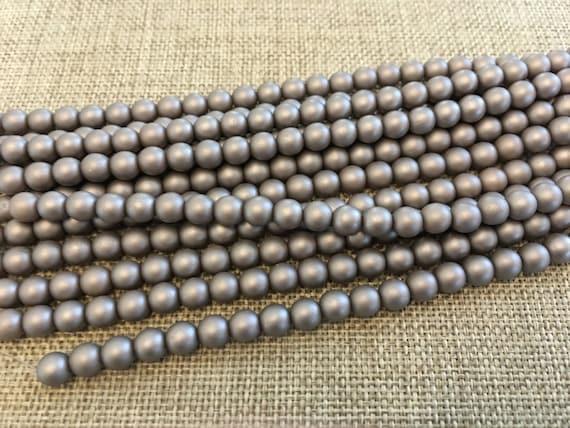 Brown Sugar 6mm Glass Pearls, 25 Pearls Per Strand, Matte Finish