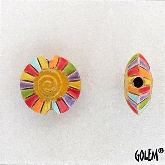 Rainbow Spiral With Yellow Center Lentil Bead, Hand Carved And Hand Glazed Beads, Golem Beads, Large Hole Beads For Kumihimo