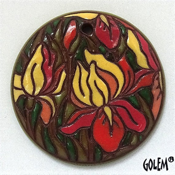 Iris Sunset Hand Carved Ceramic Pendant Bead, Golem Design Studio Artisan Beads, Large Round Pendant