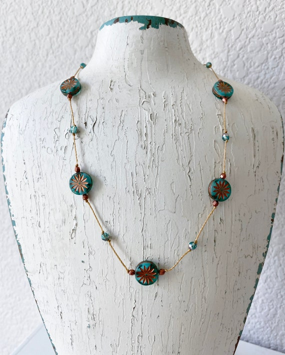 Emerald Aster Hand Knotted Necklace, Emerald Aster Star Czech Glass Beads, 16 Inch Necklace